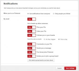 Pinterest - Email Settings